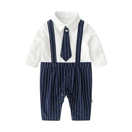 long sleeve romper boys NZ - Cotton necktie baby romper long sleeve baby rompers newborn romper party infant jumpsuit baby boy clothes Boys One Piece Clothing B846