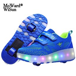 kid shoes wheels Australia - Size 28-43 Luminous Wheel Sneakers for Children Boys Girls Roller Skate Shoes with Lights Kids USB Rechargeable LED Wheels Shoes