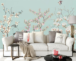 Chinese Hand Painting Landscaping Australia - Custom wallpaper new Chinese hand-painted pen magnolia bird ink landscape TV background papel de parede wall papers home decor papier peint