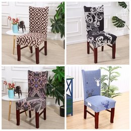wedding chair wholesale Canada - Home Chair Cover Fashion Removable Contracted Printed Spandex Elastic Slipcover Chair Covers contracted Wedding Chairs Decor WY538-3Q