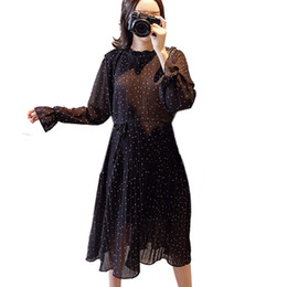 party dresses pregnant women 2019 - Pregnant Women Pleated Chiffon Midi Long Dresses for Pregnancy Loose Elegant Party Fashion Polka Dots Dress Clothes 2019