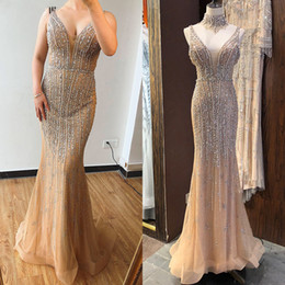 Amazing Design Dresses Australia - Amazing Dubai Champagne V-Neck Pearls Diamond Prom Dresses 2019 Latest Design Sleeveless Sexy Pageant Party Evening Gowns Abendkleid
