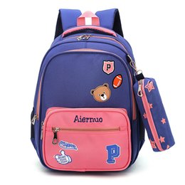 blue school bags girls UK - Children School Bags Fish Cute Little Bear Schoolbags Boys And Girls 2-6 Grade Decompression Ridge 6-10 Years Old Small Bag Y19051701