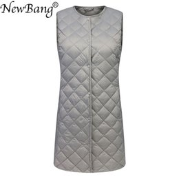 down vest women long NZ - NewBang Matt Fabric Long Women's Vest Ultra Light Down Vest Women Waitcoat Female Slim Sleeveless Without Collar Jacket