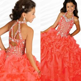 $enCountryForm.capitalKeyWord Australia - Girls Pageant Dresses Gorgeous Halter Neck with Rhinestones Watermelon Ruffles Organza Ritzee Girls Party Ball Gowns