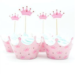 Princess Cupcakes Toppers Australia - 24Pcs Princess Crown Cupcake Wrapper Topper Picks Baby Girl Birthday Party Decoration Cake Cups (12 wraps + 12 topper) Suppliers