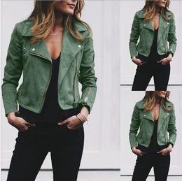 Womens Winter jacket short online shopping - Winter Womens Jackets Lapel Neck Fashion Zipper Fly Coats Casual Solid Color Women Long Sleeve Outerwear