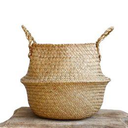 venda por atacado Woven Seagrass Basket Woven Seagrass Tote Belly Cesta de armazenamento Lavandaria / piquenique / Planta de vaso Tampa Bolsa de Praia