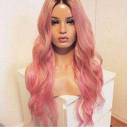 $enCountryForm.capitalKeyWord Canada - Fashion Heat Resistant 2 Tones Black Pink Ombre Wavy Curly Wigs Synthetic Lace Front Wig Dark Roots Fiber Long Wavy Wigs for Women