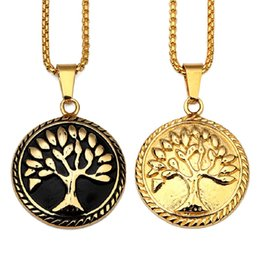 Pendant Tree NZ - Fashion Mens Jewelry Round Charm Necklace Tree of Life Pendant 18k Gold Plate Stainless Steel 60cm Long Chain Design Hip Hop Jewelry Men