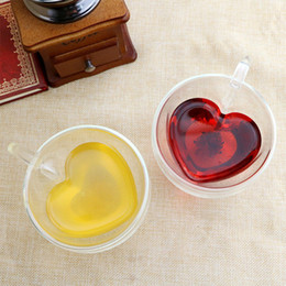 Double Wall Glass Mug Heart Shaped 180ml 240ml Coffee Milk Tea Cups with Handle Transparent Glass Mugs Romantic Gifts Home Drinkware HHA1089 on Sale