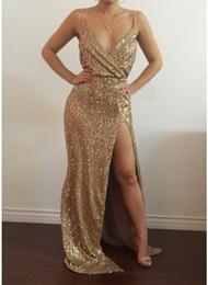$enCountryForm.capitalKeyWord Australia - Casual Dress for Woman Summer Maxi Long Dresses Girl Sequins Lady Simple Evening Dress Sleeveless V-Neck Split Maxi FormalLadies Party Cloth