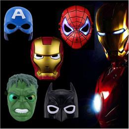 Mask For Face Glow Australia - LED Glowing SuperHero Kids Cool Cosplay Face Mask Halloween marvel Mask Spiderman Iron Man Hulk Batman Party Cartoon Movie Mask For Children