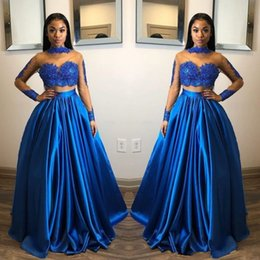 $enCountryForm.capitalKeyWord Australia - Royal Blue Two Pieces Prom Dresses Lace Appliques Sheer High Neck Long Sleeves Evening Gowns Floor Length Cheap Saudi Arabic Party Gowns