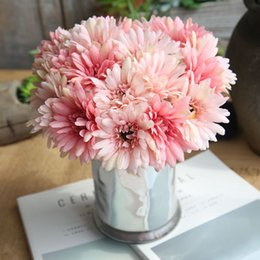 gerbera accessories Australia - Artificial Gerbera Flower Bouquet Fake Silk Holding Flowers For Bridal Wedding Party Home Decor Accessories Garden Floral