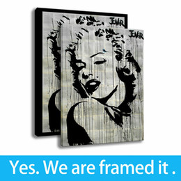 marilyn monroe art posters 2019 - Marilyn Monroe Art Print Canvas Oil Painting Character Home Decor Poster Framed Art - Ready To Hang - Support Customizat