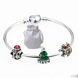 China Shine Stainless Steel Charms Bracelets Fit Pandora Girl Smooth Silver Santa Claus Green Tree Beads Bangle Jewelry Christmas gift Kids suppliers