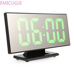Large dispLay Led digitaL cLocks online shopping - Electronic Desktop Table Digital Clock Mirror Surface Clock with Large LED Display USB Port for Bedroom
