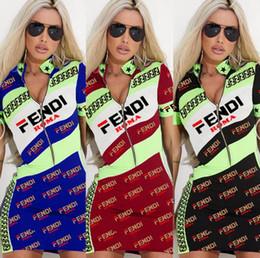 $enCountryForm.capitalKeyWord Australia - Women Brand Designer Mini Dresses Half zipper Stand collar skirts Print letter Short Sleeve sexy Dress Plus Size Summer Clothes S-3XL