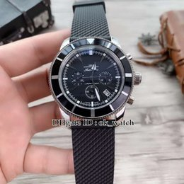 Luxury Watches Heritage Australia - NEW 43mm Super Ocean Heritage SB0161E4 BE91 256S Silver case Japan Quartz Chronograph Mens watch Black dial Rubber Strap Gents sport watches