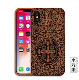 $enCountryForm.capitalKeyWord Australia - China Eco-friendly full Wood Cross carved two-piece set cell phone case for iPhone 6s 6plus 7 7plus X XS XSmax