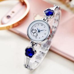 $enCountryForm.capitalKeyWord Australia - Fashion small diamond love women ladies alloy metal flower simple bracelet watches 2019 trend dress quartz wrist gift watches