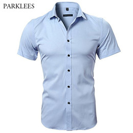 Wholesale ironing mens dress shirts resale online – Blue Bamboo Fiber Shirt Men Summer Short Sleeve Mens Dress Shirts Casual Slim Fit Easy Care Solid Non Iron Chemise Homme