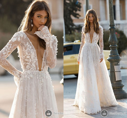 sexy v neck lace dresses NZ - 2019 Elegant Deep V Neck Wedding Dresses Sexy Backless A Line 3D Flora Lace Appliques Long Sleeve Beach Garden Bridal Gown Custom Made