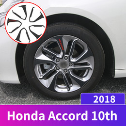 accessories for honda NZ - Carbon Fibre Vinyl Car Styling Wheel Hub Sticker Strip Rim Care Protector Decal Trim For Honda Accord 10th 2018 Accessories