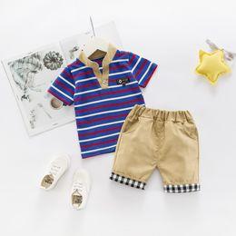 Summer Sportswear Suit Australia - Girls Clothing Boys Summer Cotton Leisuren Stripe T-Shirt Top + Shorts 2PCS Bebes Jogging Suit Newborn Sportswear Male Baby Suit