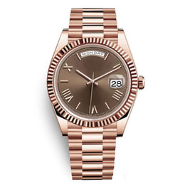 Gold silver mens watch online shopping - 20 colors DAYDATE Rose Gold Watch Mens Women Luxury Watch Day Date President Automatic Designer Watches Mechanical Roma Dial Wristwatch