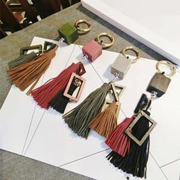 $enCountryForm.capitalKeyWord Australia - Fashion casual wooden block PU leather tassels women keychain bag pendant alloy car key chain ring holder retro jewelry