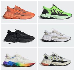 Cotton laCe trims online shopping - Ozweego pride Running Shoes M Reflective White rainbow suede trimmed mesh RS Green Solar Yellow Halloween Tones Designer sneakers