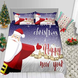 3d bedding set white rose Australia - Hot Sale Bedding Set King Santa Print Cute Cartoon 3D Duvet Cover Queen Kids Single Double Twin Full Bed Cover with Pillowcase 3pcs