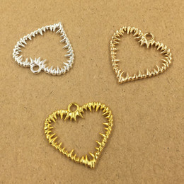Traditional Hair Accessories Australia - 100pcs 25*24mm Gold Silver hollow out heart charms metal pendants Alloy DIY Jewelry Accessories Headwear Hair Jewelry Handicraft Material