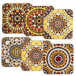 Eco Fiber Australia - Natural Cork Wood Coaster Eco-friendly Mandala Blossom Flower Printing non-slip Square Cup Table Bowl Mats & Pads Durable Coasters In Stock