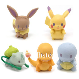 "old action figures Australia - Hot New 5Pcs Lot 1.5"" 4CM Pkc Eevee Charmander Squirtle Bulbasaur PVC Action Figures Party Gifts Toys"