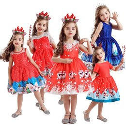 Party frocks dresses online shopping - Christmas Costume For Big Girl Dress Xmas Santa Clus Kid Ceremony Festive Party Princess Frock Children Up Print Lush Dress Clothes