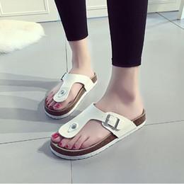 $enCountryForm.capitalKeyWord Australia - Sequins Beach Cork Slippers 18 Styles Casual Sandals Flip Flops PU Leather Non-slip Clip Feet Slippers