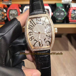 H Case NZ - Luxry Brand New 46mm LADIES'COLLECTION 5000 H SC D3 CD Diamond Dial Rose Gold Case Quartz Movement Mens Watch Black Leather Strap Watches 02