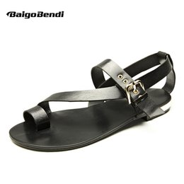 16f4072d4a2f US-5-11 Men Genuine Leather Casual Beach Flat Thongs Roman Flip Flop  Gladiator Summer Sandals Outdoor Slides Shoes