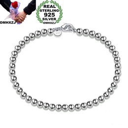 $enCountryForm.capitalKeyWord Australia - OMHXZJ Wholesale Personality Fashion OL Woman Girl Party Gift Silver 4mm Hollow Beads Chain 925 Sterling Silver Bracelet BR03