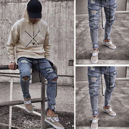 7b995bc87688 Men Stylish Skinny Ripped Hole Denim Trouser Punk Rock Denim Blue Jeans  Trousers Slim Distressed Moustache Pencil Pants