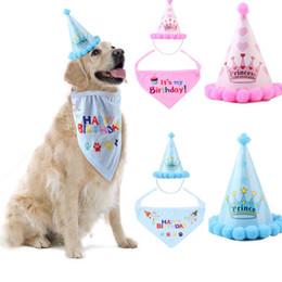 Sombrero del perro del gato del sombrero mascota baberos cumpleaños Headwear Caps gato accesorios del perro del traje del partido Headwear de accesorios para mascotas para perros pequeños cap Pañuelos en venta
