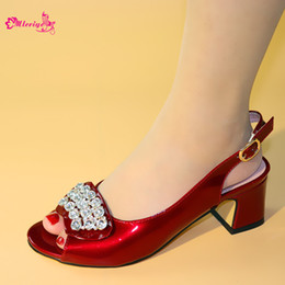rhinestone pumps for wedding NZ - Latest Italian Ladies Sexy Wine High Heels Pumps Rhinestones Design Ladies Women Pumps African Sandal Shoes for Wedding Parties