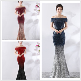 Celebrity Occasions Dresses Australia - Cheap stock Sparkling Off-the-shoulder Mermaid Prom Dresses Sequins Lace Formal Evening Dress Celebrity Dress Special Occasion Dress 2K19