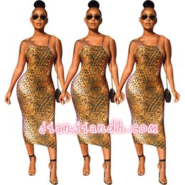 Wholesale sexy models tight dresses for sale – plus size Y8114 high end explosion models European and American women s nightclubs hot sexy tight sling backless leopard dress