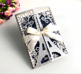 Wholesale 2019 Luxury Eiffel Tower Paris Glitter Laser Cut Invitations Cards with Champagne Ribbons for Wedding Brial Shower Anniversary Graduation