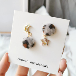 moon star studs Canada - S925 Silver Pin Round Leopard Earrings Temperament Stars and Moon Personality Asymmetric Ear Clip