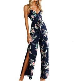 c0cc52b6632 2019 Elegant Jumpsuits For Women Ladies Summer Casual Sleeveless V-Neck  Floral Print Straps Wide Leg Rompers Jumpsuits HX0312